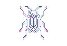 Lineair insect in technostijl Vector illustratie op witte achtergrond Royalty-vrije Stock Fotografie