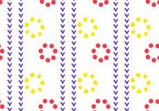 Lineair naadloos geometrisch patroon van rode en gele bloemen Bloemblaadjes van vierkanten, hart en cirkel Ornament in etnische s royalty-vrije illustratie