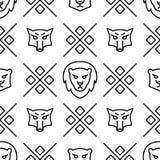 Lineair naadloos patroon met wilde wolven en leeuwen Vectorlijnillustratie vector illustratie
