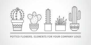 Lineair ontwerp, ingemaakte cactus elementen van een collectief embleem Vector royalty-vrije illustratie