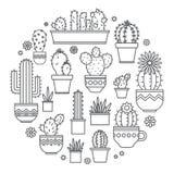 Lineair ontwerp, ingemaakte cactus elementen van een collectief embleem Vector vector illustratie