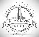 Lineair Reykjavik Stadssilhouet met Typografisch Ontwerp Royalty-vrije Stock Fotografie