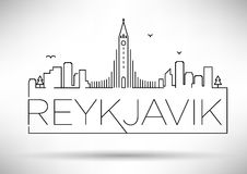 Lineair Reykjavik Stadssilhouet met Typografisch Ontwerp Stock Foto