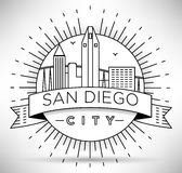 Lineair San Diego City Silhouette met Typografisch Ontwerp Stock Foto's