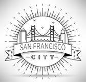 Lineair San Francisco City Silhouette met Typografisch Ontwerp Stock Fotografie