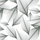 Lineair vectorpatroon, die abstracte bladeren, grijze lijn van blad of bloem herhalen, bloemen grafisch schoon ontwerp voor stof, stock illustratie