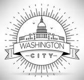 Lineair Washington D C Stadssilhouet met Typografisch Ontwerp Stock Foto's