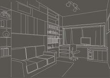 Lineaire architecturale de woonkamer grijze achtergrond van het schetskabinet Royalty-vrije Stock Foto's