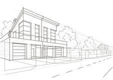 Lineaire architecturale schets geblokkeerde huizen Stock Fotografie