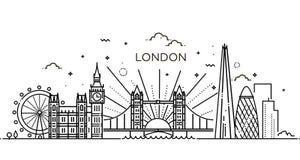 Lineaire banner van de stad van Londen Stock Foto's