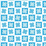 Lineaire blauwe en witte geruite het patroonachtergrond van de bloemvorm Royalty-vrije Stock Afbeeldingen