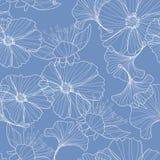 Lineaire bloemenachtergrond, bloemenpatroon stock illustratie