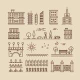Lineaire cityscape, landschapselementen en gebouwen geplaatste vectorpictogrammen Royalty-vrije Stock Afbeelding