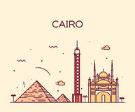 Lineaire de horizon in vectorillustratie van Kaïro royalty-vrije illustratie