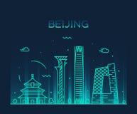 Lineaire de horizon in vectorillustratie van Peking royalty-vrije illustratie