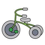 Lineaire eenvoudige die driewieler op witte ruimte wordt gescheiden stock illustratie