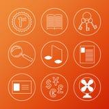 Lineaire geplaatste pictogrammen Stock Afbeeldingen