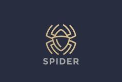 Lineaire het ontwerpvector van het spinembleem Gevaarlijk vergift vector illustratie