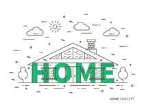 Lineaire huis vlakke illustratie royalty-vrije illustratie