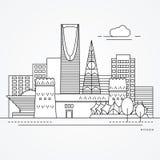 Lineaire illustratie van Riyadh, Saudi-Arabië Vlakke lijnstijl In vectorillustratie vector illustratie