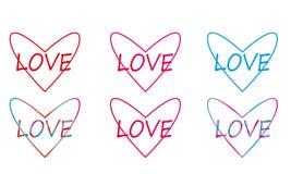 Lineaire multicolored harten Royalty-vrije Stock Afbeeldingen