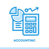 Lineaire pictogramboekhouding van financiën, bankwezen Geschikt voor mobiel Stock Foto's