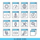 16 lineaire pictogrammen geplaatst vectorillustratieblauw Stock Afbeeldingen