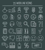 35 lineaire pictogrammen van het Webontwerp Lijnpictogrammen voor zaken, Webontwikkeling en landende pagina Vlak Ontwerp Vector Stock Foto's