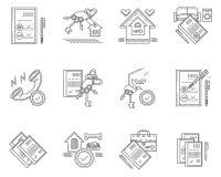 Lineaire pictogrammen voor huur van huis Stock Foto