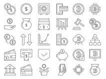 Lineaire pictogrammenreeks geld en bedrijfssymbolen Creditcards, muntstukken Royalty-vrije Stock Foto