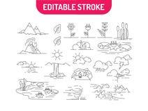 Lineaire reeks aardpictogrammen Landschappen met bergen, bloemen, rivier, overzees, wolken en zonsopgang Vector illustratie stock illustratie