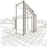 Lineaire schets architecturale bouw twee snijdende bogen Stock Foto's