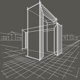 Lineaire schets architecturale bouw van twee snijdende bogen op grijze achtergrond Stock Fotografie