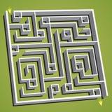 Lineaire vectorillustratie Verward vierkant labyrint Stock Afbeeldingen