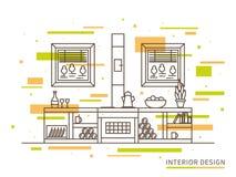 Lineaire vlakke binnenlandse ontwerpillustratie van het moderne huis van het ontwerperplatteland vector illustratie