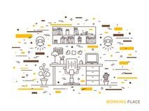 Lineaire vlakke binnenlandse ontwerpillustratie van moderne ontwerper werkende plaats royalty-vrije illustratie
