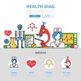 Lineaire vlakke Gezondheids diag infographics Medica Stock Foto