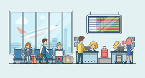 Lineaire Vlakke mensen op vector van de luchthaven de wachtende zaal royalty-vrije illustratie