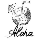 Lineaire zwarte op een witte achtergrondafbeelding van een kokosnoot en de inschrijvingsvectorafbeeldingen royalty-vrije illustratie