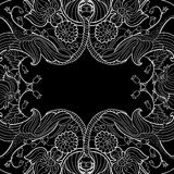 Linear abstract flourish frame at black Stock Images