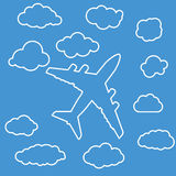 Linear airplane with clouds on blue air background Royalty Free Stock Photo