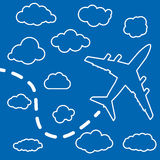 Linear airplane with clouds on a blue air background. Blue sky t Stock Photos