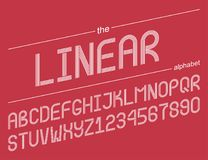 Linear alphabet. Set of 36 elements. 26 letters and 10 numbers Royalty Free Stock Photography