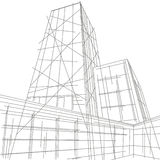 Linear architectural illustration skyscraper Stock Images