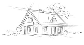 Linear architectural project detached house. Architectural project detached house - vector illustration Royalty Free Stock Image