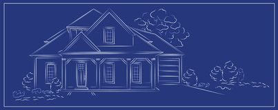 Vector linear architectural project modern detached house. Linear architectural project of detached house on blue background - vector illustration Royalty Free Stock Photo