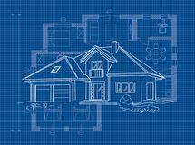 Linear architectural project of detached house - vector illustration. Blueprint royalty free illustration