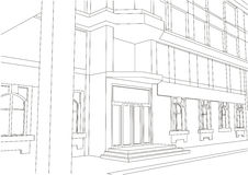 Linear architectural sketch building entrance Royalty Free Stock Image
