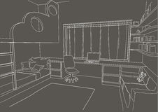 Linear architectural sketch child room gray background Royalty Free Stock Image