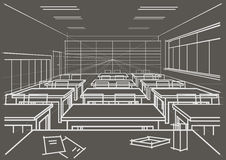 Linear architectural sketch classroom on gray background Royalty Free Stock Images